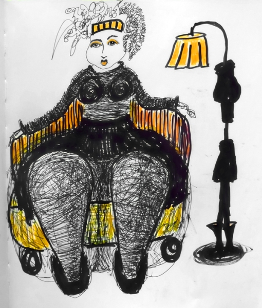 Ink and marker drawing of woman sitting in chair with big legs and a small chest